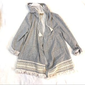 Democracy Open Front Hooded Cardigan Sweatshirt XL